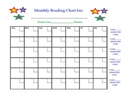 Monthly reading chart worksheet