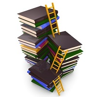 ladders and stacks of book