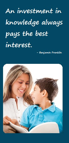 Mom teaching son - Benjamin Franklin proverb - An investment in knowledge always pays the best interest.