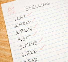 Example spelling worksheet