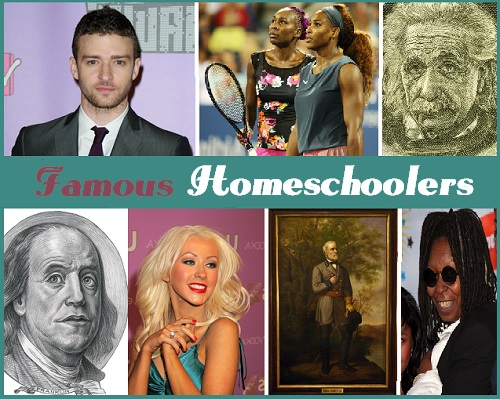 famous homeschoolers montage including Einstein, the Williams sisters, Justin Timberlake and Whoopi Goldberg