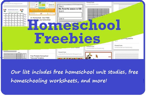 homeschool freebies list graphic