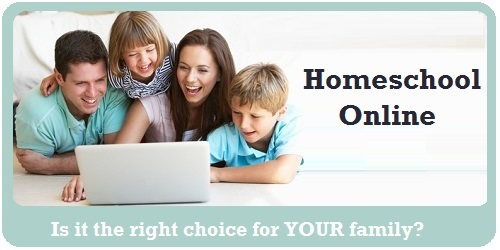Online homeschool - family gathered together learning online on laptop computer