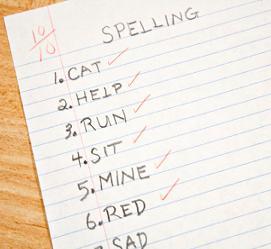 Example spelling worksheet