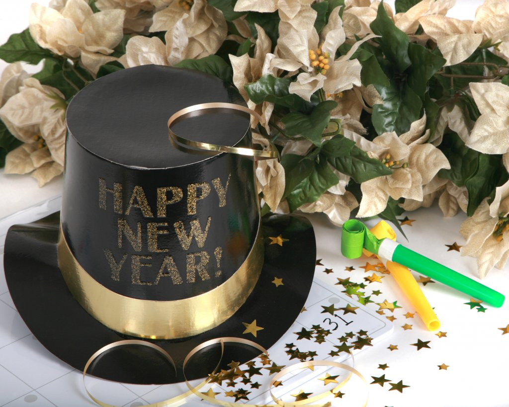 Happy New Year with noise makers and holiday flowers