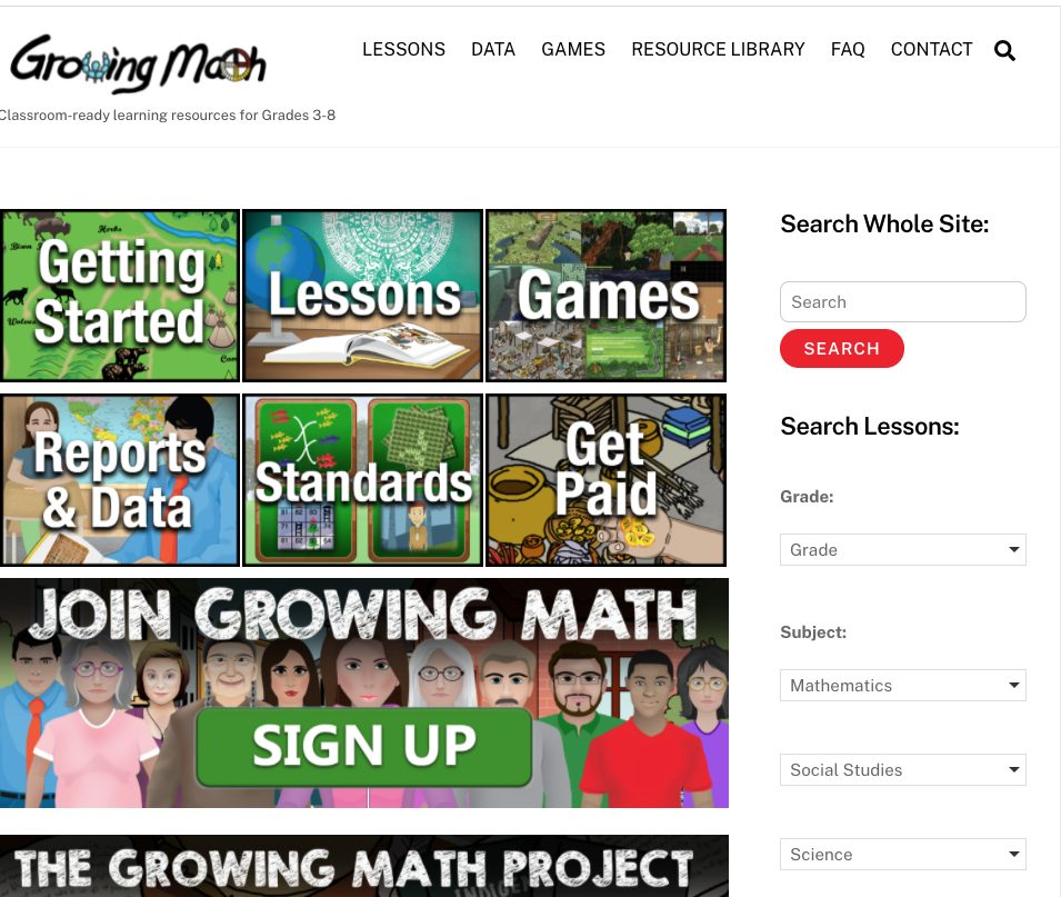 Growing Math Home page